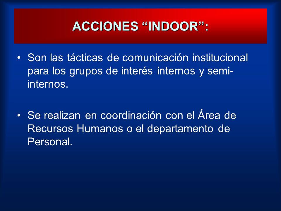 ACCIONES INDOOR :Son las tácticas de comunicación institucional para los grupos de interés internos y semi-internos.