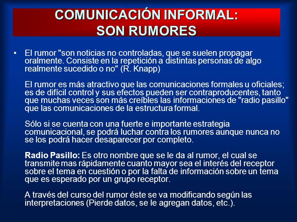 COMUNICACIÓN INFORMAL: SON RUMORES