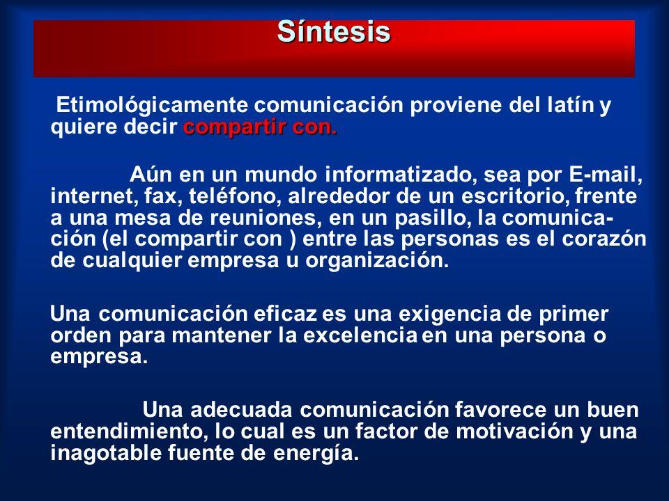 Síntesis Etimológicamente comunicación proviene del latín y quiere decir compartir con.