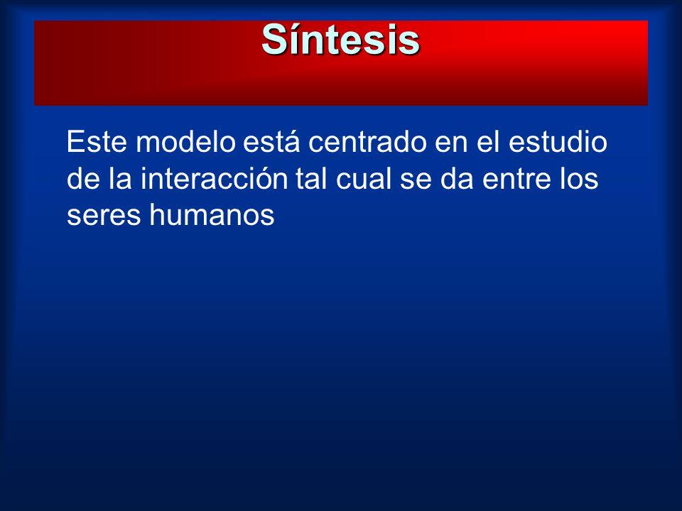 Síntesis Este modelo está centrado en el estudio de la interacción tal cual se da entre los seres humanos.