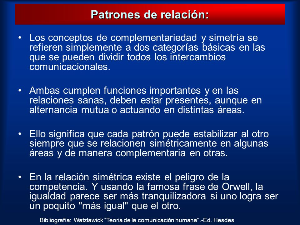 Patrones de relación: