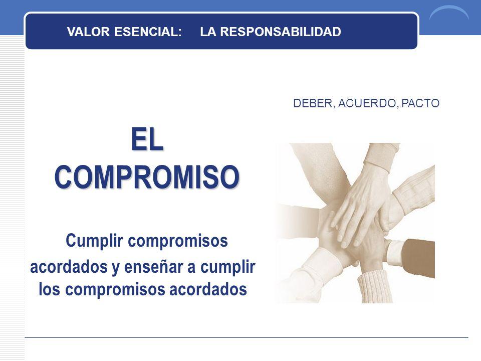 EL COMPROMISO VALOR ESENCIAL: LA RESPONSABILIDAD DEBER, ACUERDO, PACTO