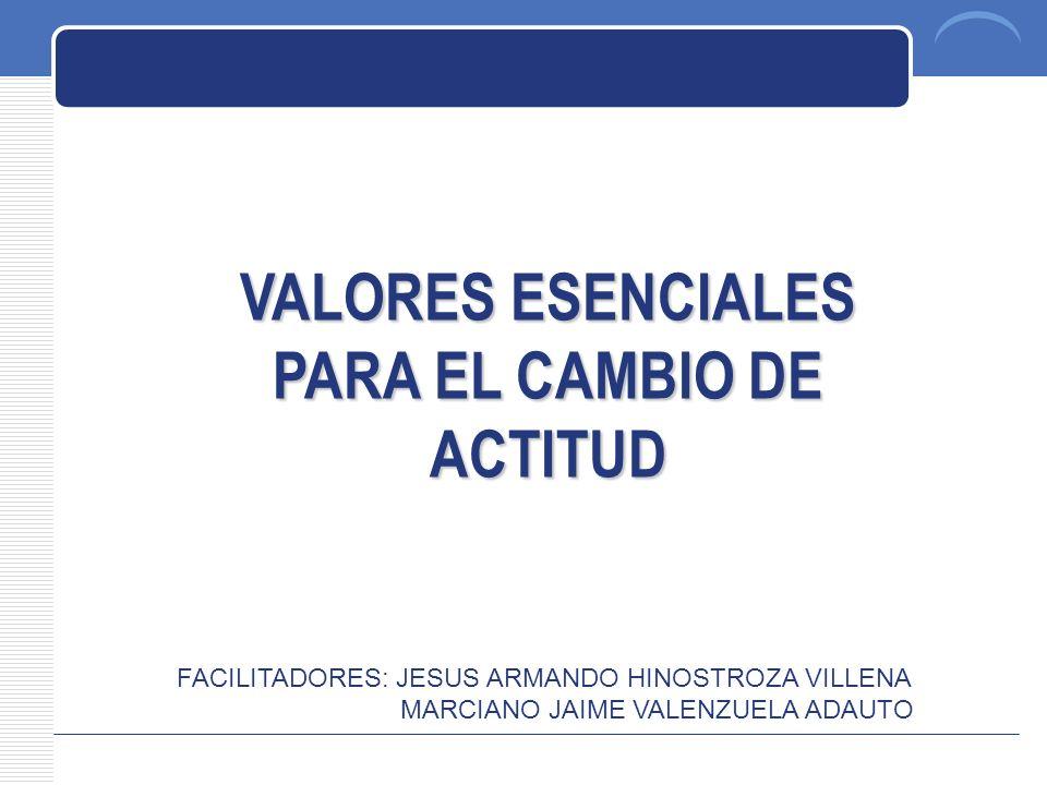 PLAN DE TRABAJO VALORES ESENCIALES PARA EL CAMBIO DE ACTITUD