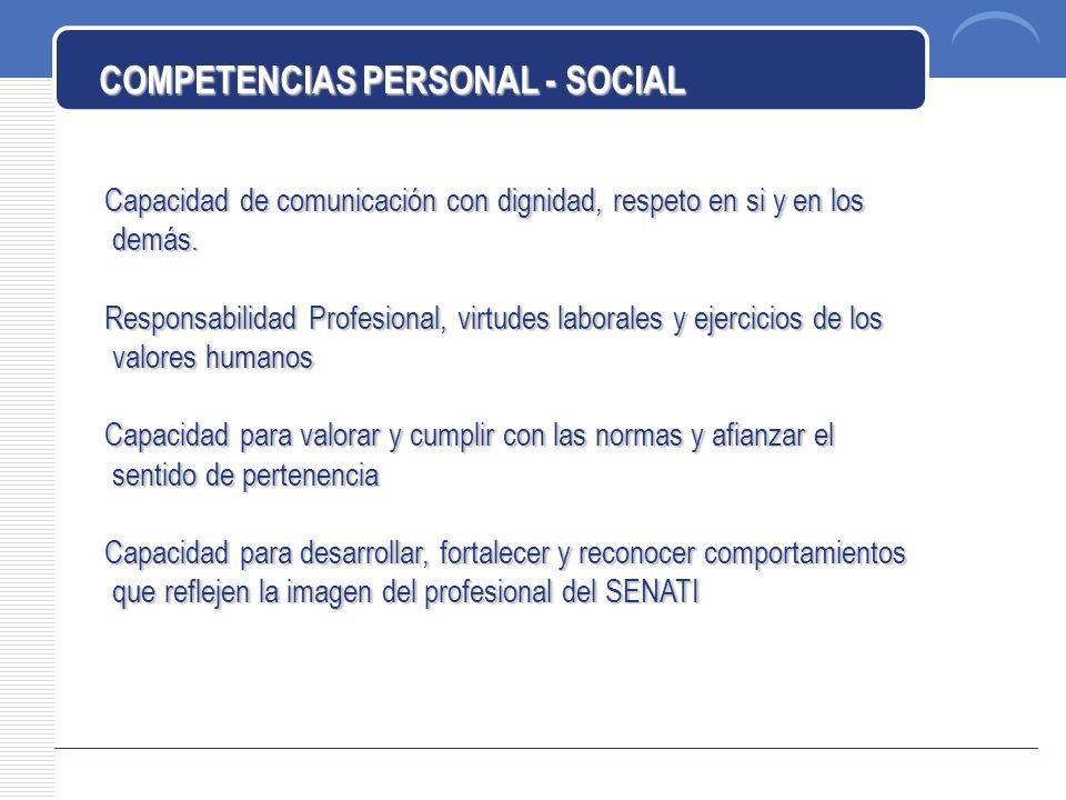 COMPETENCIAS PERSONAL - SOCIAL