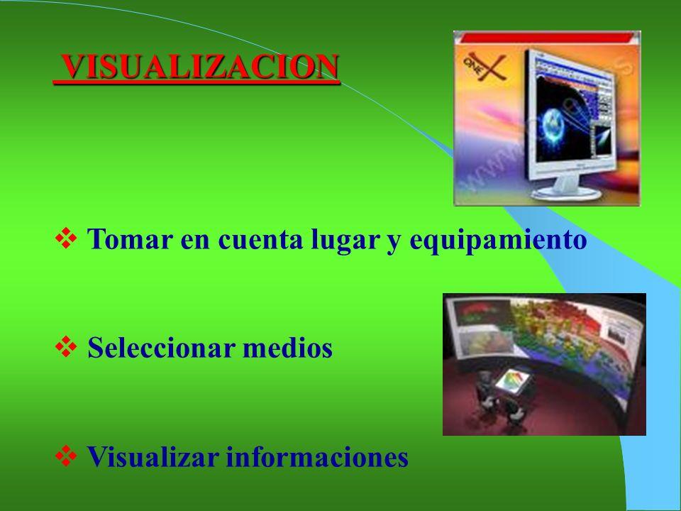 VISUALIZACION Tomar en cuenta lugar y equipamiento Seleccionar medios