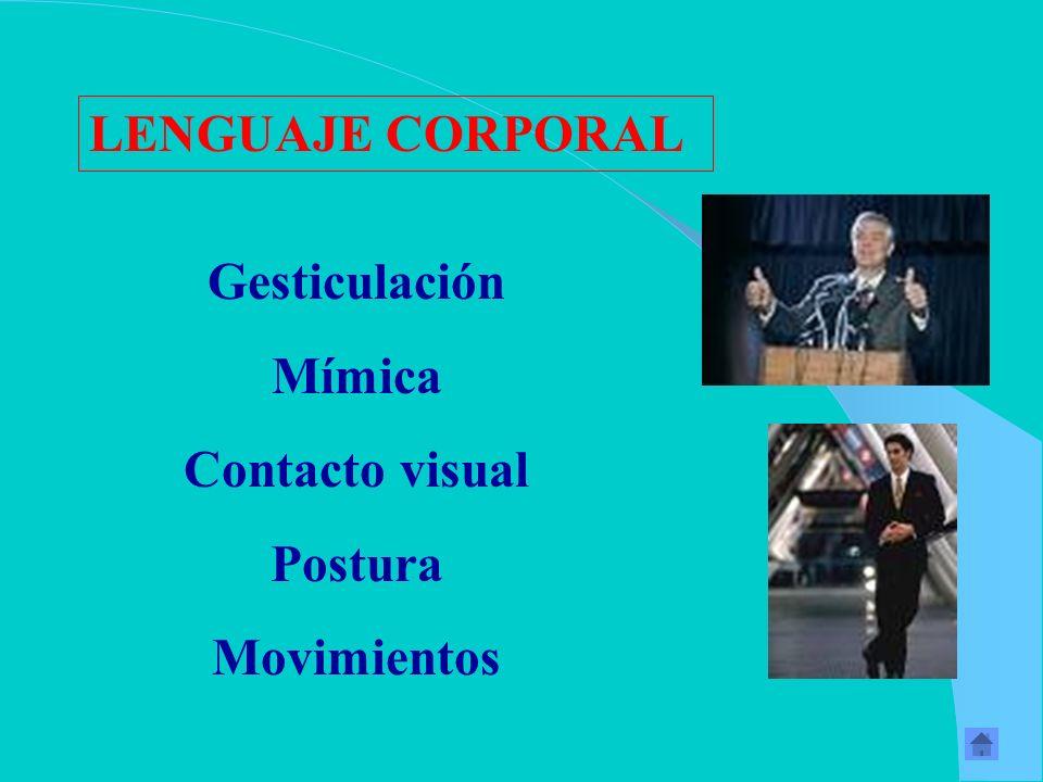 LENGUAJE CORPORAL Gesticulación Mímica Contacto visual Postura Movimientos