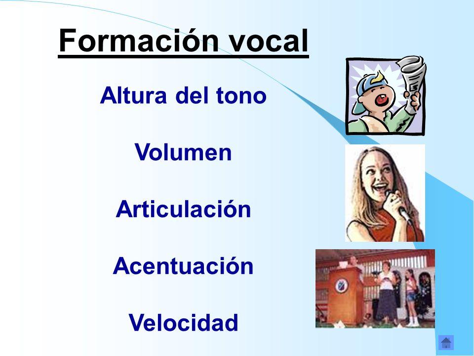 Formación vocal Altura del tono Volumen Articulación Acentuación