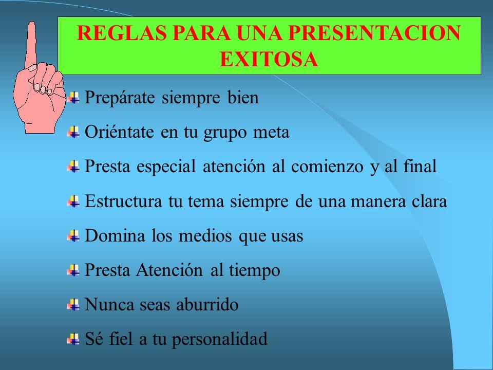 REGLAS PARA UNA PRESENTACION EXITOSA