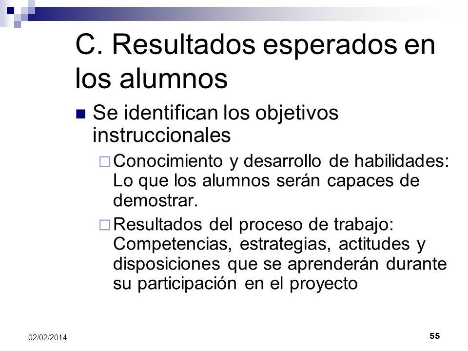 C. Resultados esperados en los alumnos