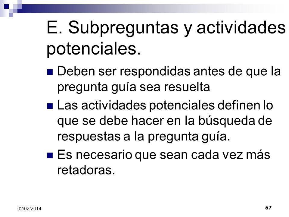 E. Subpreguntas y actividades potenciales.
