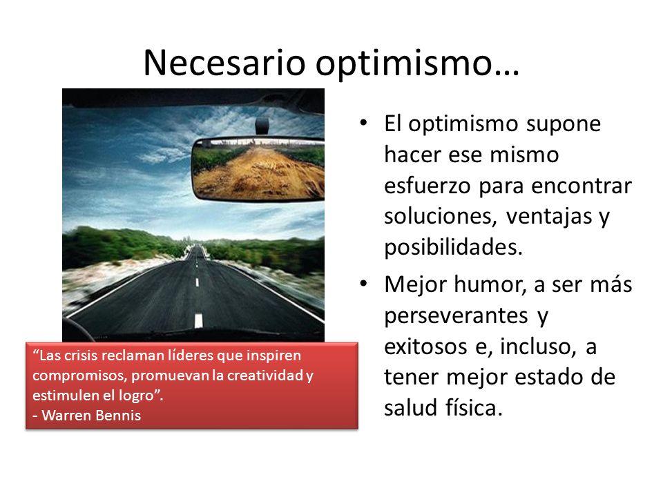 Necesario optimismo… El optimismo supone hacer ese mismo esfuerzo para encontrar soluciones, ventajas y posibilidades.
