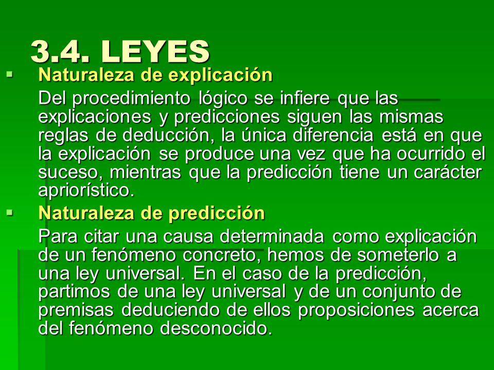 3.4. LEYES Naturaleza de explicación