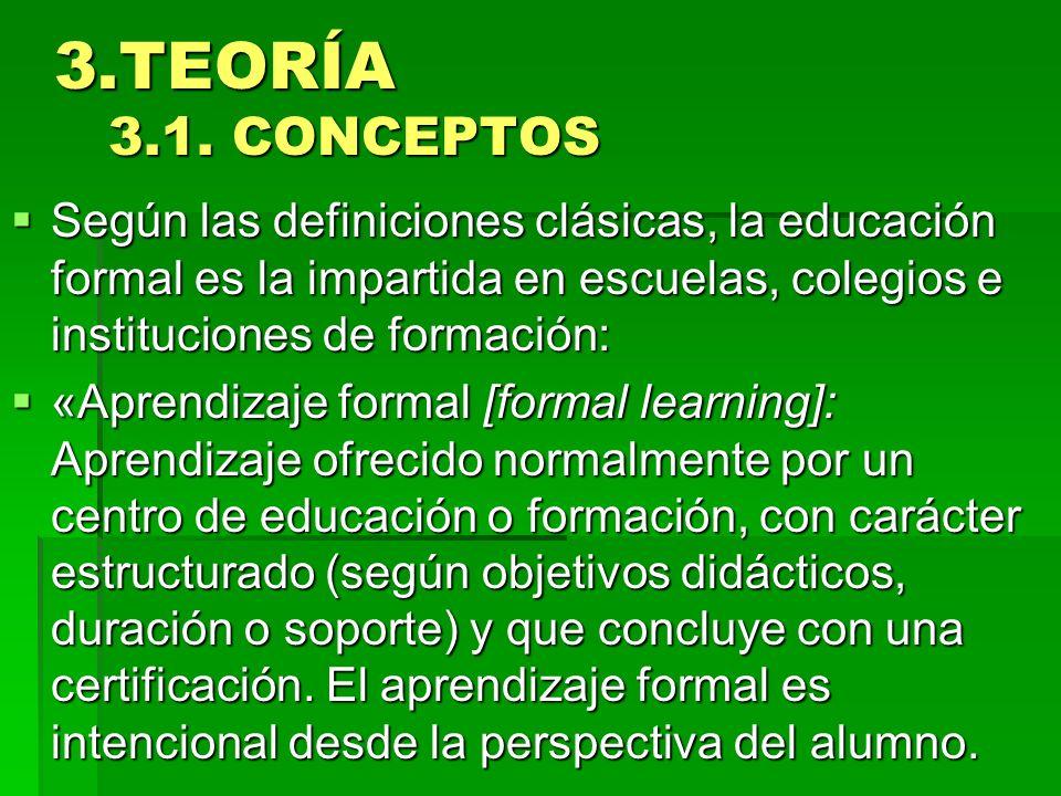 3.TEORÍA 3.1. CONCEPTOS Según las definiciones clásicas, la educación formal es la impartida en escuelas, colegios e instituciones de formación: