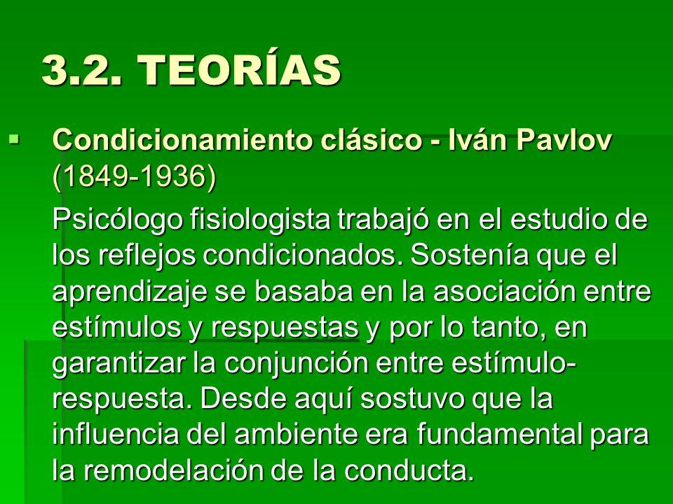 3.2. TEORÍAS Condicionamiento clásico - Iván Pavlov (1849-1936)