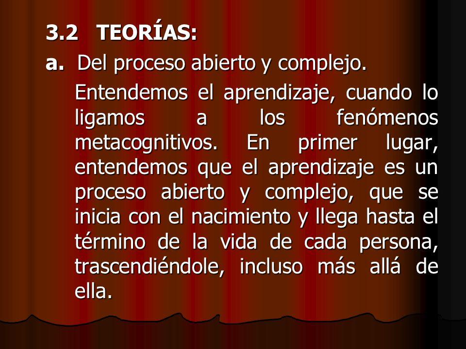 3.2 TEORÍAS: a. Del proceso abierto y complejo.