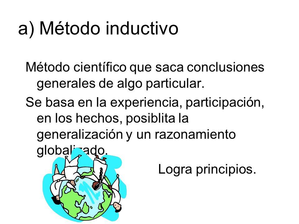 a) Método inductivo Método científico que saca conclusiones generales de algo particular.