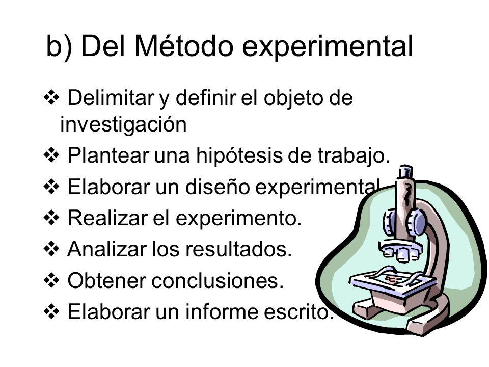 b) Del Método experimental