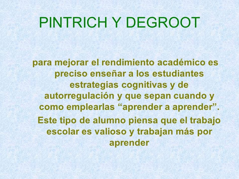 PINTRICH Y DEGROOT