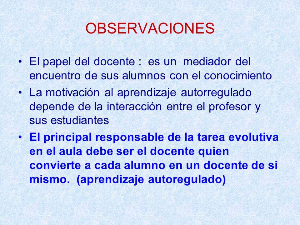 OBSERVACIONES El papel del docente : es un mediador del encuentro de sus alumnos con el conocimiento.