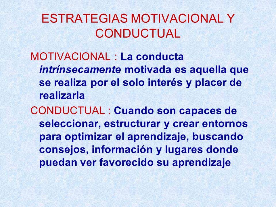 ESTRATEGIAS MOTIVACIONAL Y CONDUCTUAL