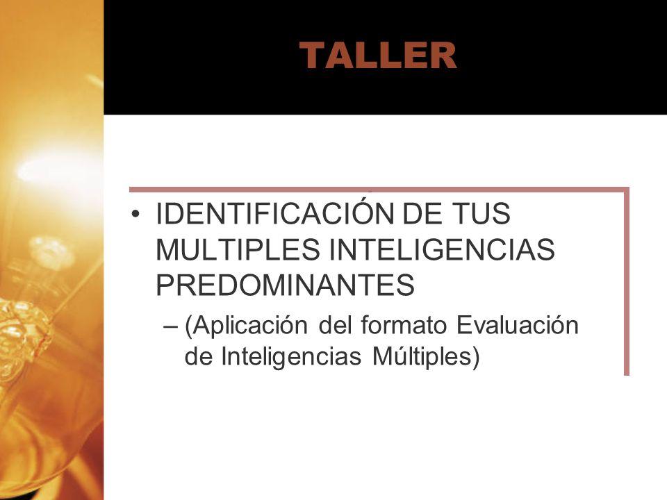 TALLER IDENTIFICACIÓN DE TUS MULTIPLES INTELIGENCIAS PREDOMINANTES