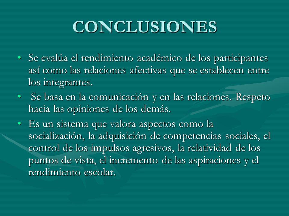 CONCLUSIONES Se evalúa el rendimiento académico de los participantes así como las relaciones afectivas que se establecen entre los integrantes.