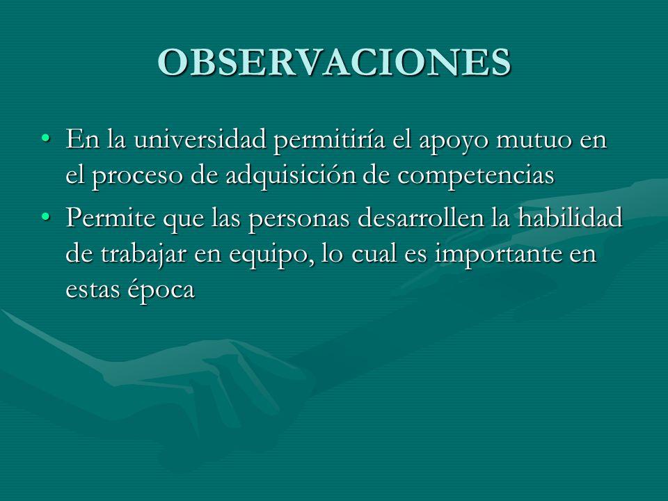 OBSERVACIONES En la universidad permitiría el apoyo mutuo en el proceso de adquisición de competencias.