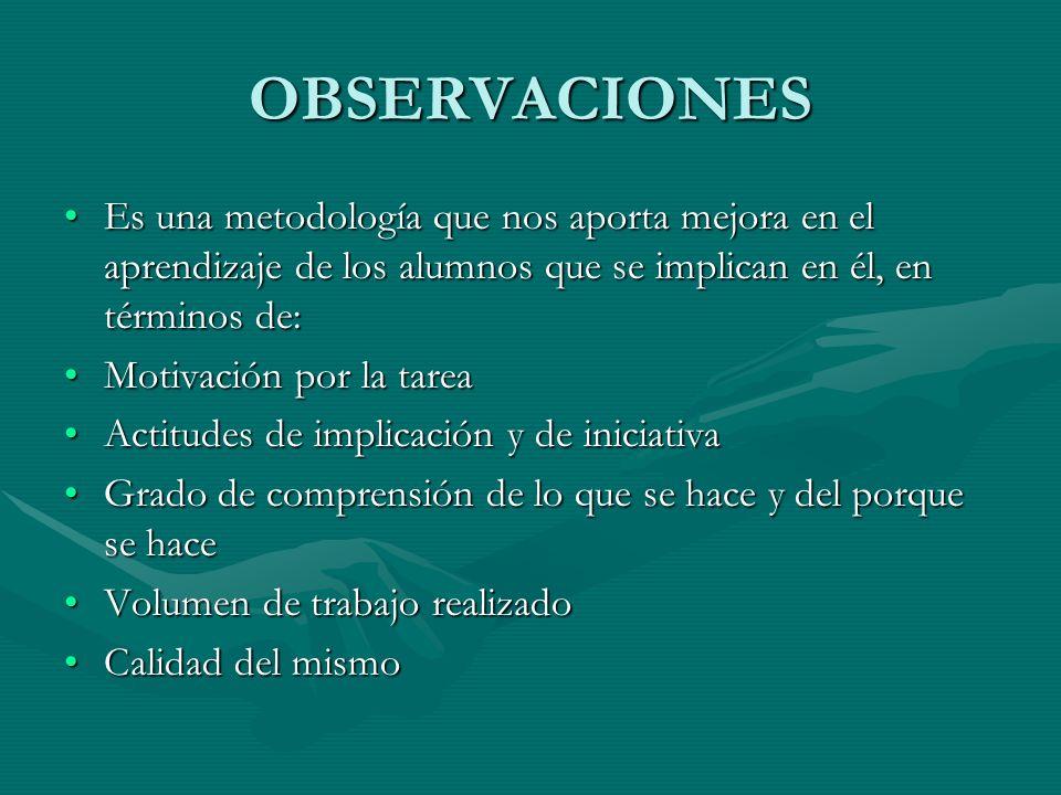 OBSERVACIONES Es una metodología que nos aporta mejora en el aprendizaje de los alumnos que se implican en él, en términos de: