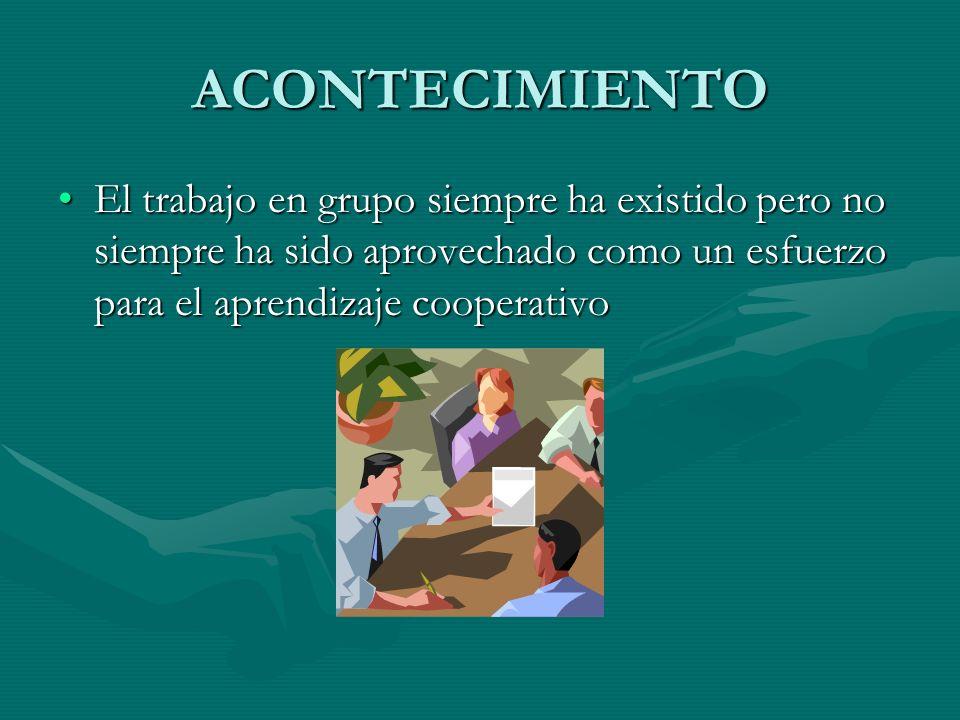 ACONTECIMIENTO El trabajo en grupo siempre ha existido pero no siempre ha sido aprovechado como un esfuerzo para el aprendizaje cooperativo.