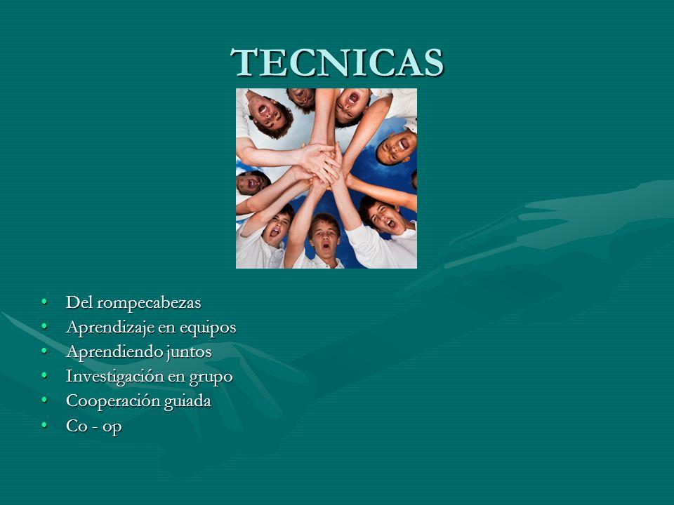 TECNICAS Del rompecabezas Aprendizaje en equipos Aprendiendo juntos