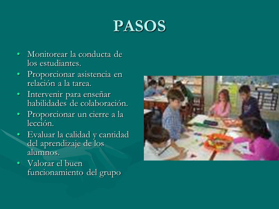PASOS Monitorear la conducta de los estudiantes.