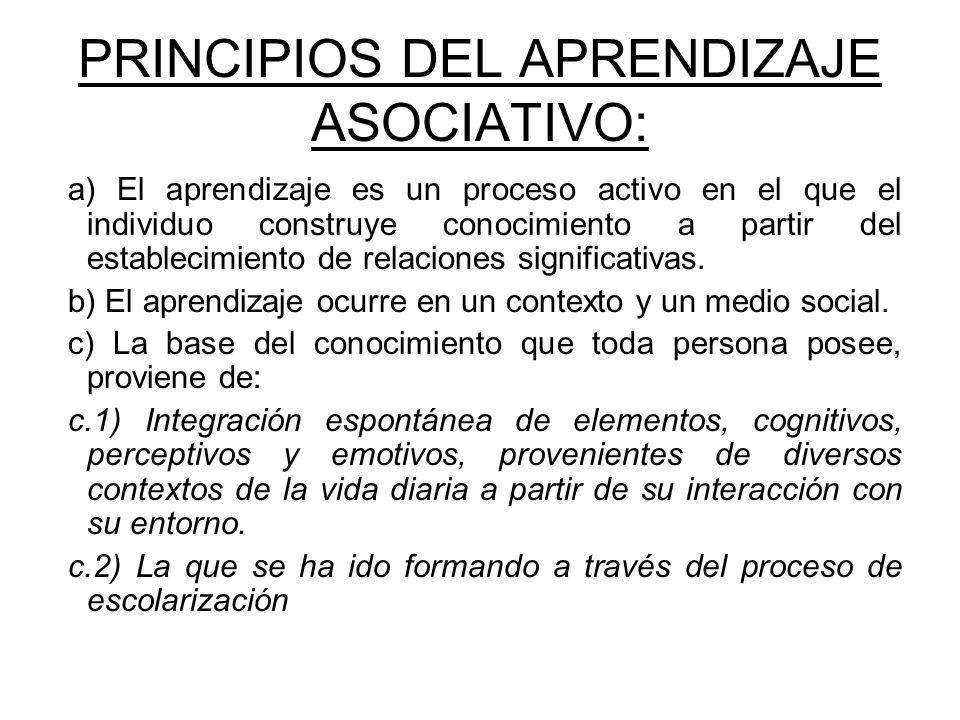 PRINCIPIOS DEL APRENDIZAJE ASOCIATIVO: