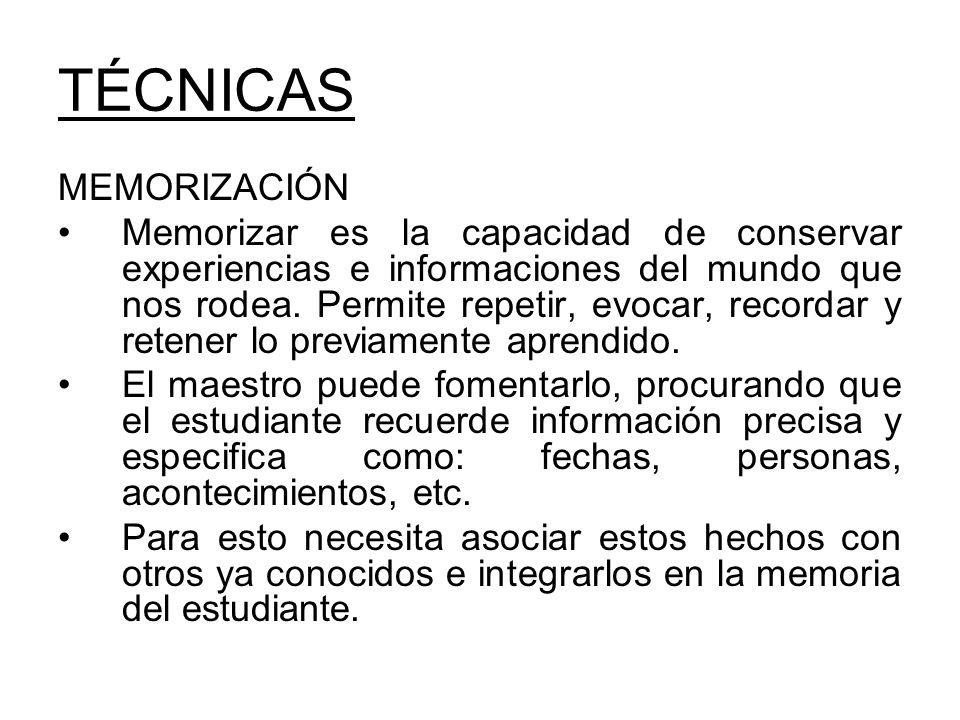 TÉCNICAS MEMORIZACIÓN
