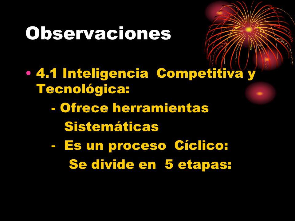 Observaciones 4.1 Inteligencia Competitiva y Tecnológica:
