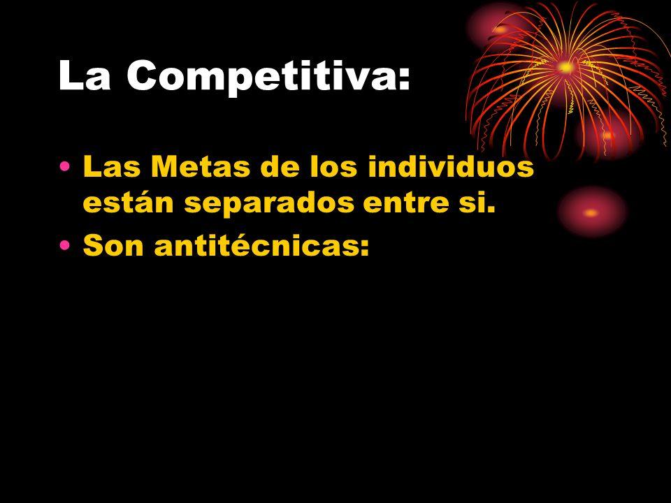 La Competitiva: Las Metas de los individuos están separados entre si.