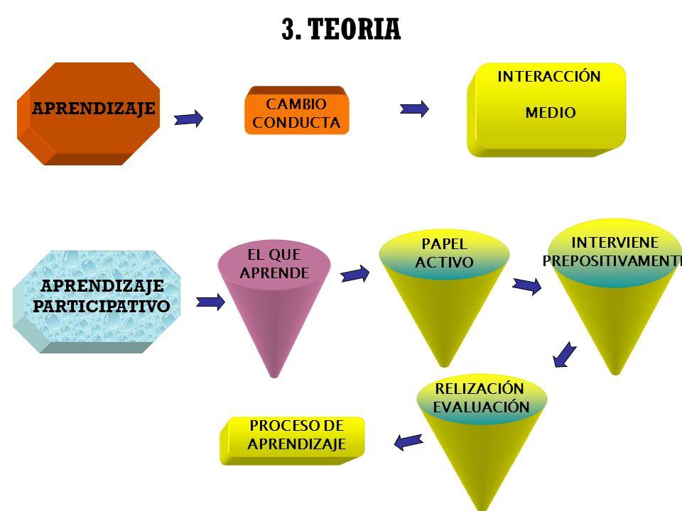3. TEORIA APRENDIZAJE APRENDIZAJE PARTICIPATIVO INTERACCIÓN MEDIO