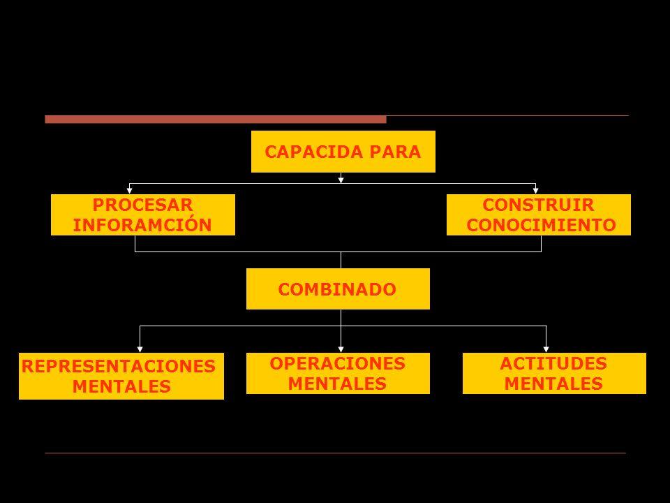 CAPACIDA PARA PROCESAR. INFORAMCIÓN. CONSTRUIR. CONOCIMIENTO. COMBINADO. REPRESENTACIONES. MENTALES.