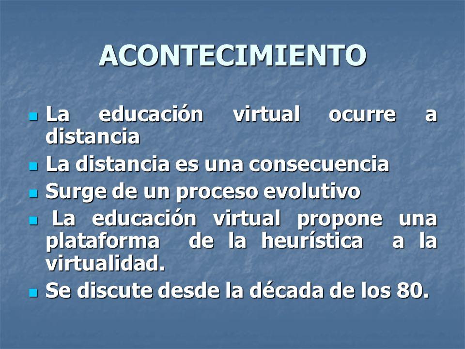 ACONTECIMIENTO La educación virtual ocurre a distancia