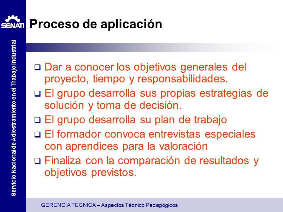 Proceso de aplicaciónDar a conocer los objetivos generales del proyecto, tiempo y responsabilidades.