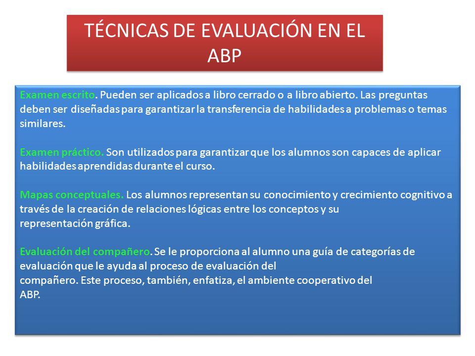 TÉCNICAS DE EVALUACIÓN EN EL ABP
