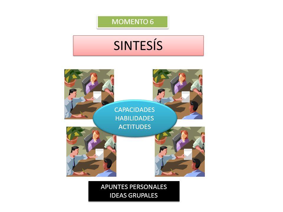 SINTESÍS MOMENTO 6 CAPACIDADES HABILIDADES ACTITUDES