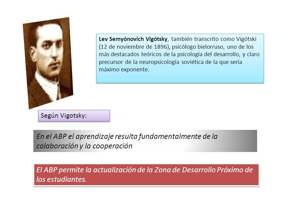 Lev Semyónovich Vigótsky, también transcrito como Vigótski (12 de noviembre de 1896), psicólogo bielorruso, uno de los más destacados teóricos de la psicología del desarrollo, y claro precursor de la neuropsicología soviética de la que sería máximo exponente.