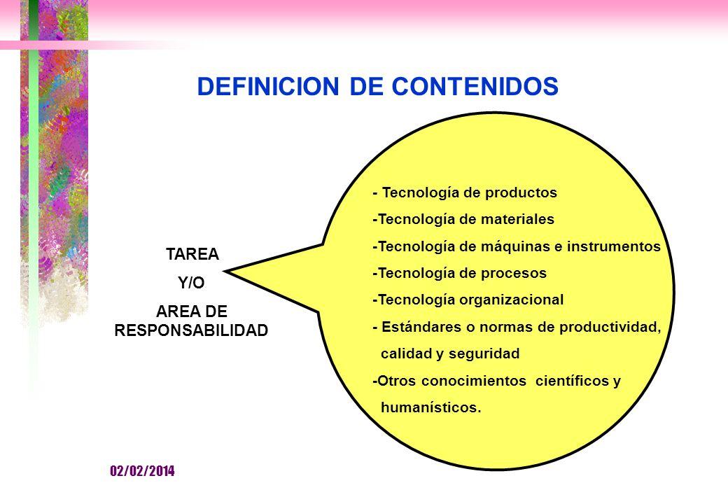 DEFINICION DE CONTENIDOS AREA DE RESPONSABILIDAD