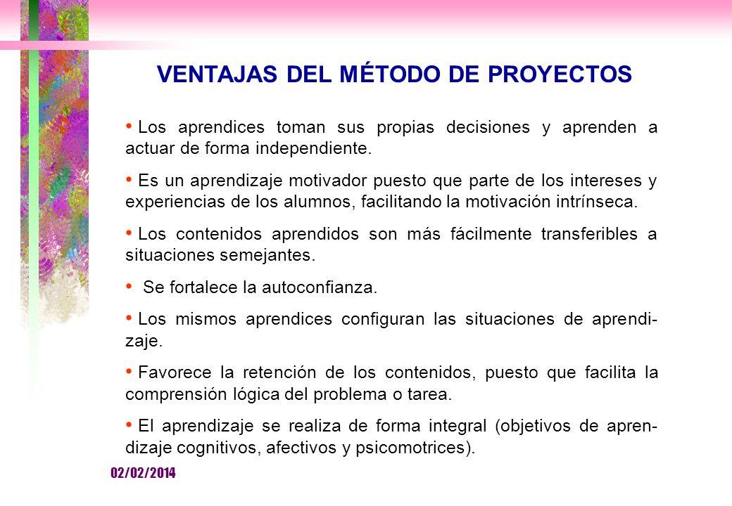 VENTAJAS DEL MÉTODO DE PROYECTOS