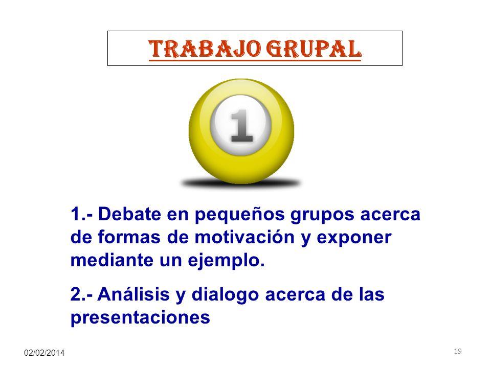 TRABAJO GRUPAL 1.- Debate en pequeños grupos acerca de formas de motivación y exponer mediante un ejemplo.