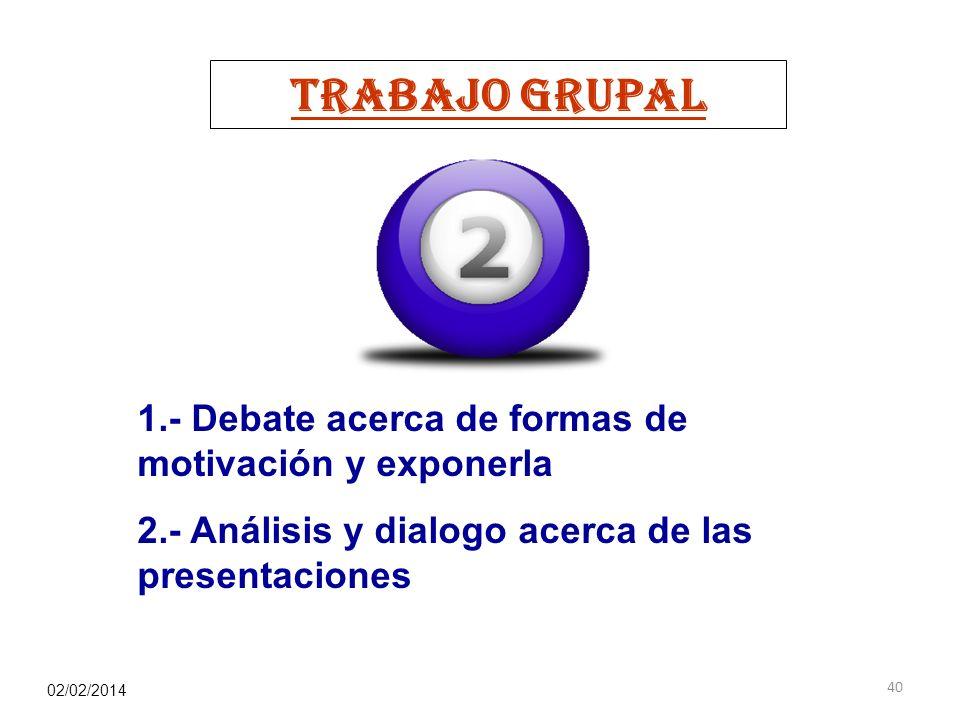 TRABAJO GRUPAL 1.- Debate acerca de formas de motivación y exponerla