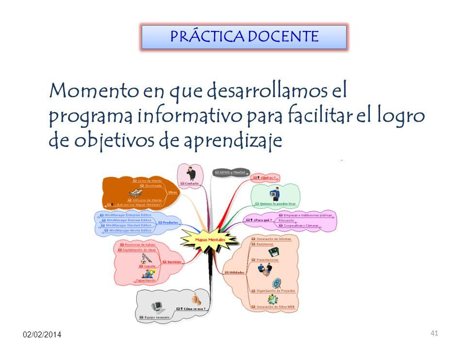 PRÁCTICA DOCENTE Momento en que desarrollamos el programa informativo para facilitar el logro de objetivos de aprendizaje.
