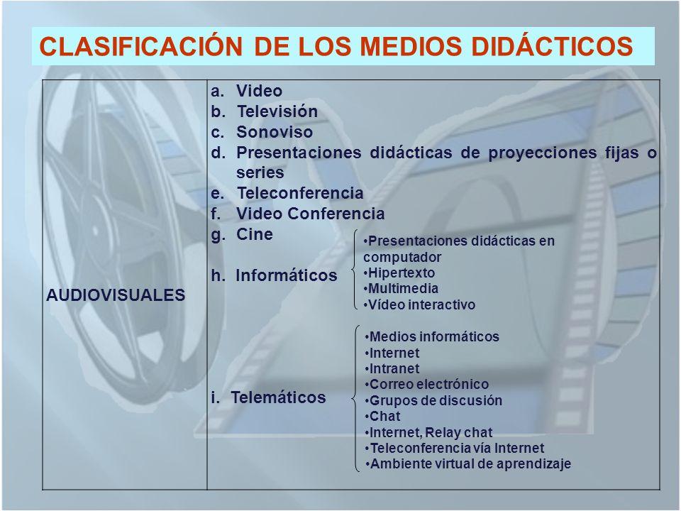 CLASIFICACIÓN DE LOS MEDIOS DIDÁCTICOS