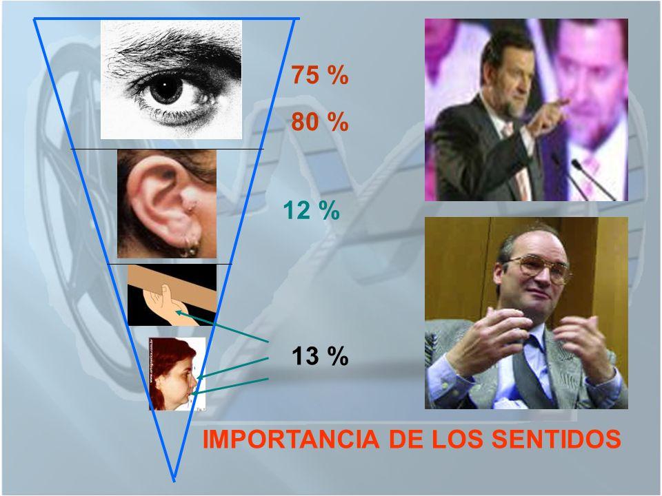 75 % 80 % 12 % 13 % IMPORTANCIA DE LOS SENTIDOS