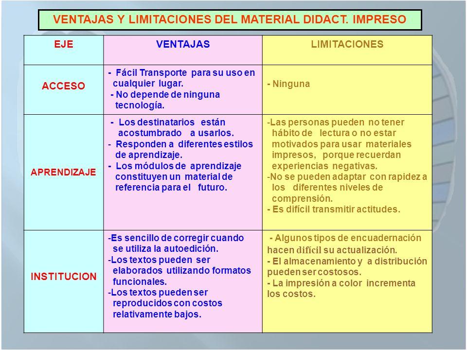 VENTAJAS Y LIMITACIONES DEL MATERIAL DIDACT. IMPRESO